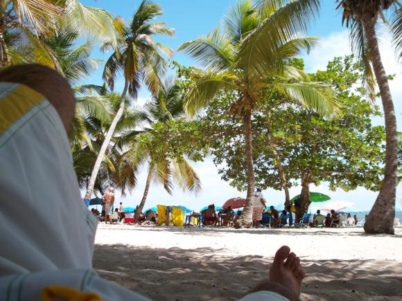 Descansando a la sombra de las palmeras después de comer.