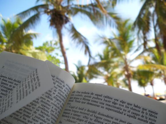 Leyendo 'La conjura de los necios', mientras espero la lancha.