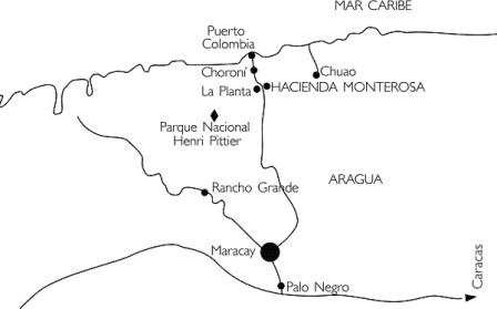 Mapa de acceso a Choroní y Puerto Colombia.