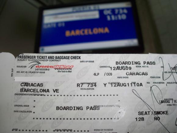 Billete de avión de Caracas a Barcelona (Venezuela)
