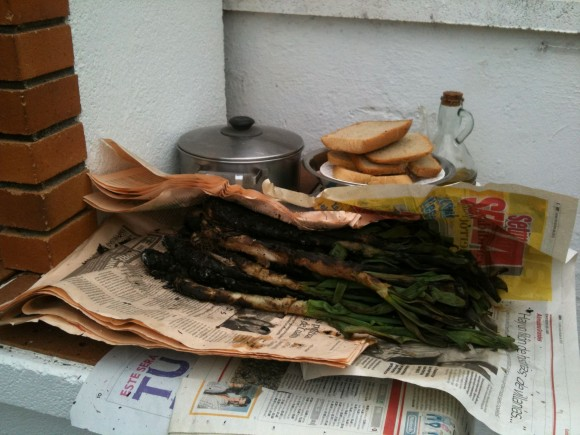 Los calçots ya asados, se reservan enrollados en hojas de periódico para conservar el calor.