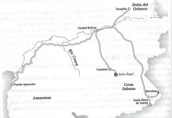 Mapa de situación - Ciudad Bolívar - Canaima - Salto Angel.