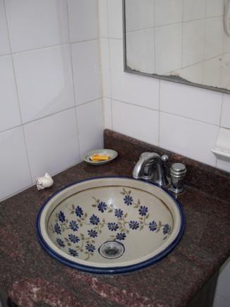 El baño, con ducha. Sencillo y limpio.