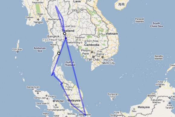 Intinerario por Tailandia, Malaysia y Singapur.