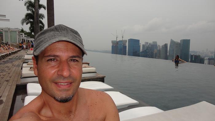 En la piscina del Marina Bay Sands.