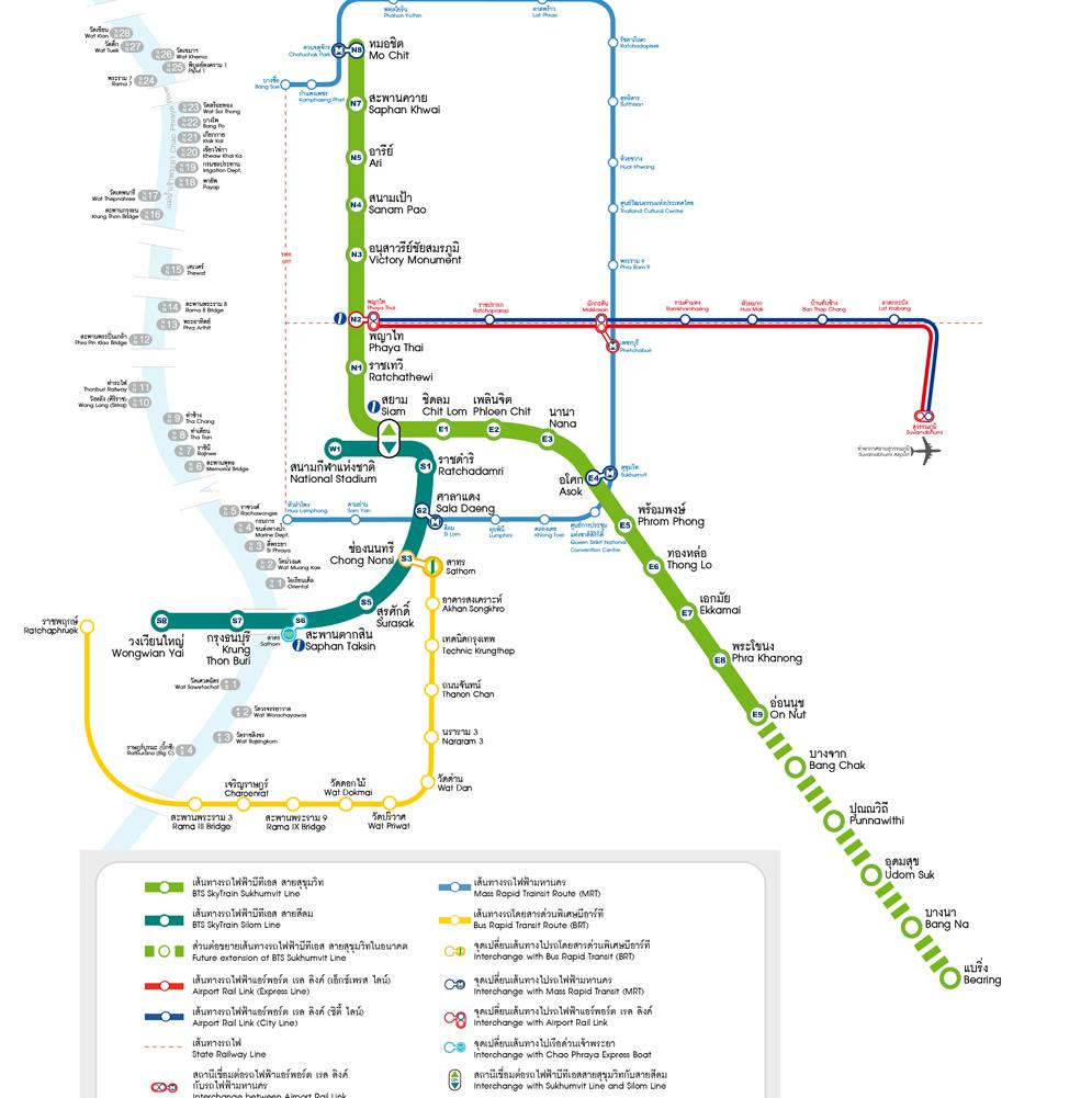Plano de transporte de Metro y Sky Train (BTS) de Bangkok.