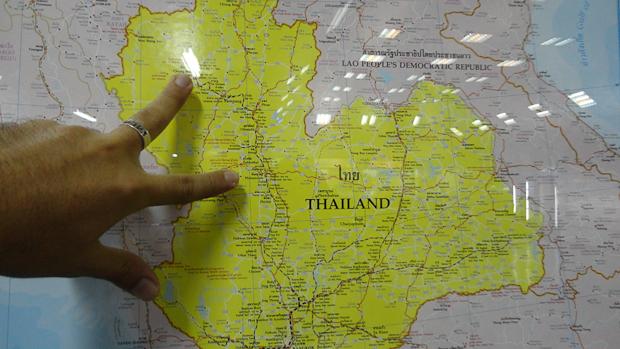 El trayecto entre Chiang Mai y Phitsanulok, de norte a sur.