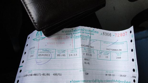 El billete de tren que compré la tarde antes en previsión del horario.