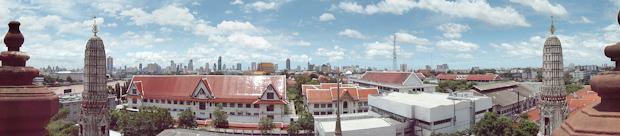 El perfil de Bangkok desde la torre me impresionó.