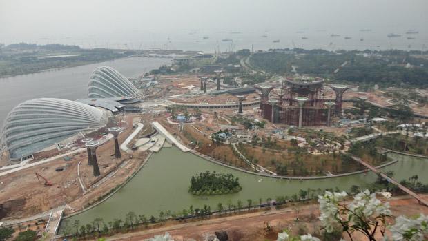 Zona en construcción del complejo Marina Bay Sands de Singapur.
