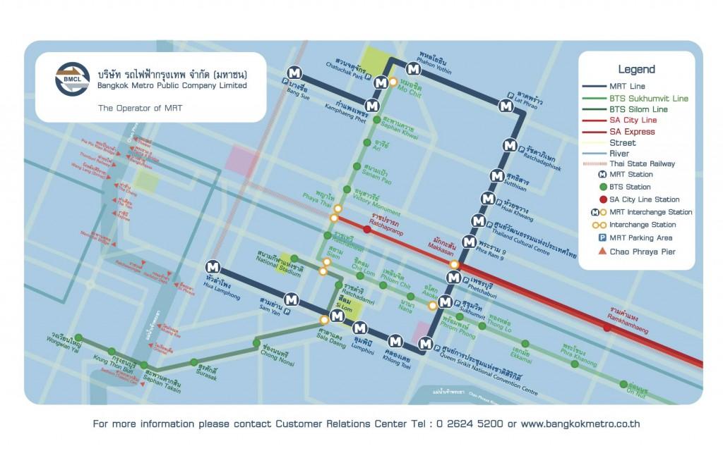 Mapa del metro de Bangkok (MRT)