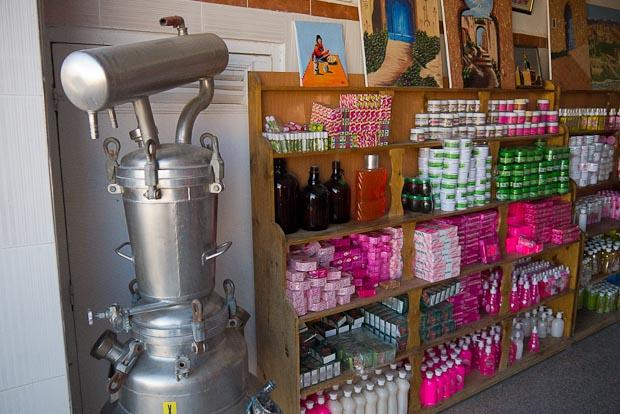 Jabones y productos de cosmética a base de aromas de rosas.