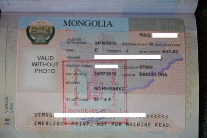 Visado mongol en mi pasaporte.