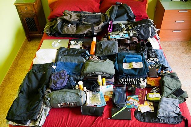 El equipaje para el transmongoliano. Creo que voy a tener que eliminar algunas cosas...