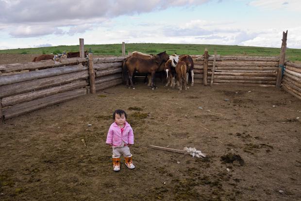 La niña tiene dos años y asustaba los animales.