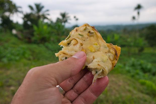 Tortilla de vegetales sobre plantación de tabaco (bodegón improvisado).