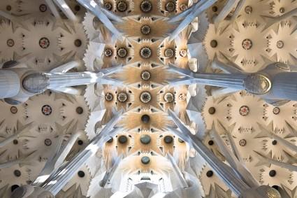 Techo de la nave central. Un palmeral que nace del suelo termina por formar una imagen caleidoscópia espectacular.