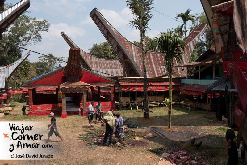 Recinto funerario del poblado. Las palmeras del centro indican la buena familia del difunto o la difunta.