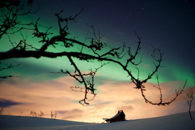 Auroras boreales - Laponia Noruega en verano.
