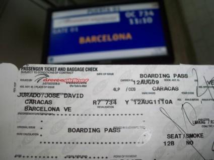 Billete de avión hacia la Barcelona venezolana.